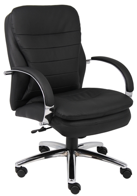 Boss Mid Back Caressoftplus Exec. Chair W/ Chrome Base