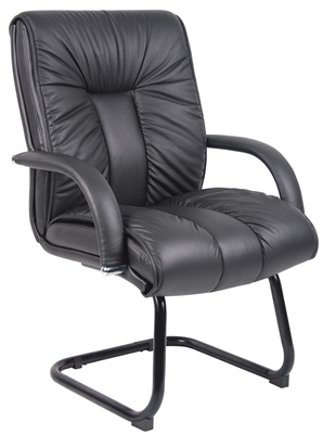 Boss Italian Leather Mid Back Guest Chair