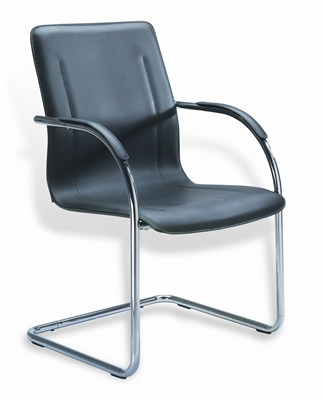 Boss Chrome Frame Black Vinyl Side Chair, 4Pcs Per Pack