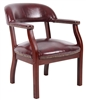 Boss Captain'S Chair In Burgundy Vinyl