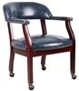 Boss Captain'S Chair In Blue Vinyl W/ Casters