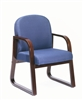 Boss Mahogany Frame Side Chair In Blue Fabric