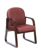Boss Mahogany Frame Side Chair In Burgundy Fabric