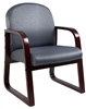 Boss Mahogany Frame Side Chair In Grey Fabric