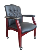 Boss Traditional Black Caressoft Guest Chair W/ Mahogany Finish