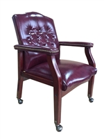 Boss Traditional Oxblood Vinyl Guest Chair W/ Mahogany Finish