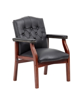 Boss Traditional Black Leather Guest Chair W/ Cherry Finish
