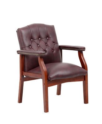 Boss Traditional Burgundy Leather Guest Chair W/ Cherry Finish