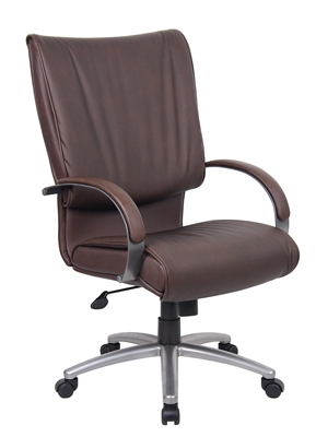 Boss High Back Bomber Brown Leather Plus Chair With Chorme Base