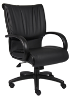Boss Mid Back Black Leatherplus Executive Chair
