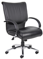 Boss Mid Back Black Leatherplus Executive Chair W/ Chrome Base & Arms