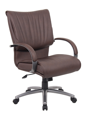 Boss Mid Back Bomber Brown LeatherPlus Chair With Chrome Base