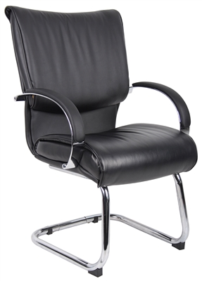 Boss Mid Back Black Leatherplus Guest Chair W/ Chrome Base & Arms