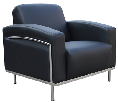 Boss Black Caressoftplus Lounge Chair W/Chrome Frame