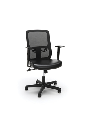 ERGONOMIC MESH BACK CHAIR WITH BONDED LEATHER SEAT, BLACK