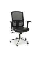 ERGONOMIC MESH BACK CHAIR WITH BONDED LEATHER SEAT, BLACK WITH CHROME