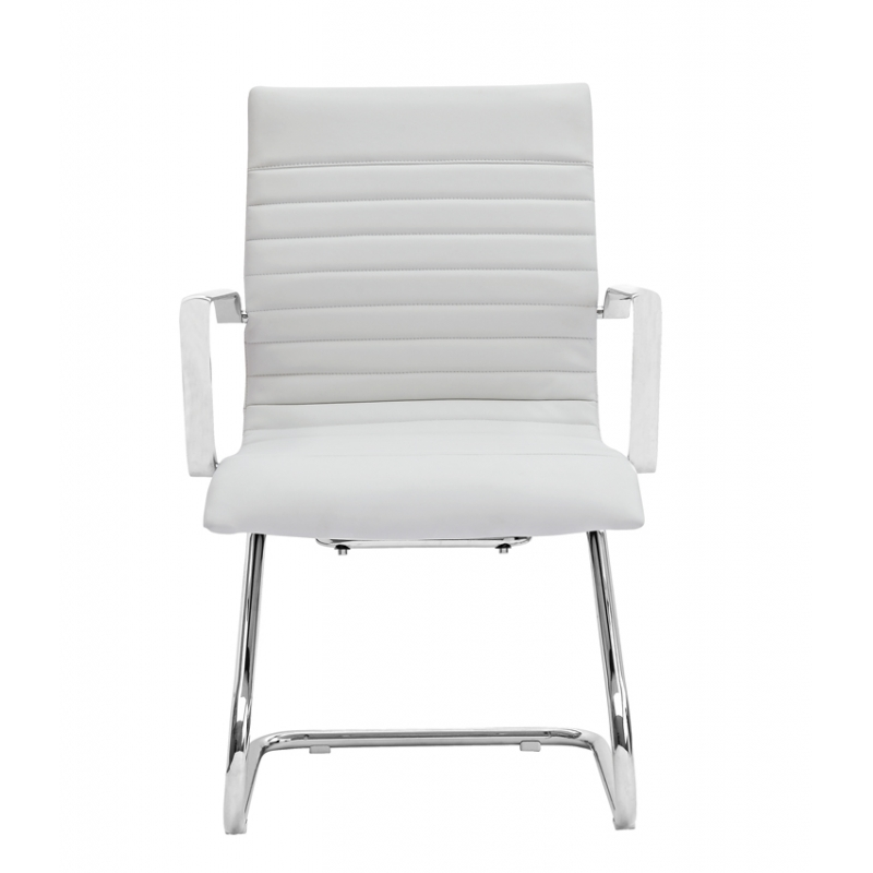 Zetti black grey or white leather modern guest office for Contemporary seating chairs