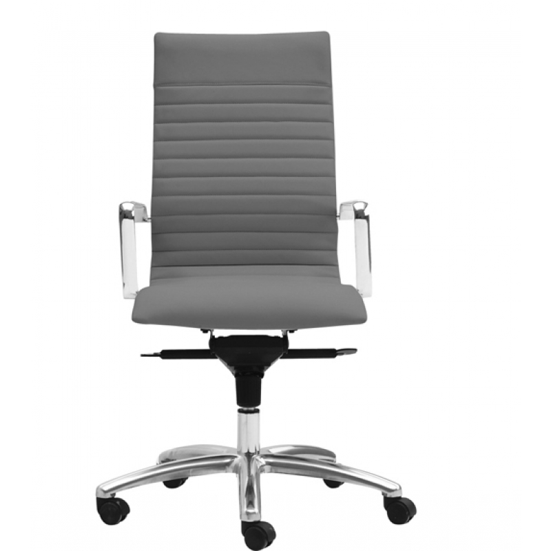 Zetti Leather High Back Office Chair In White Charcoal