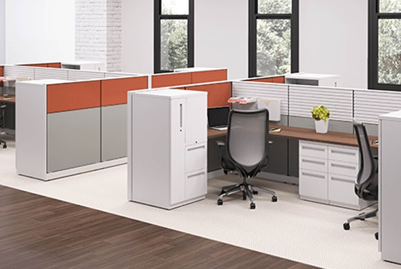 Hon Abound Segmented Tile modular cubicle desks from Boca Raton ...
