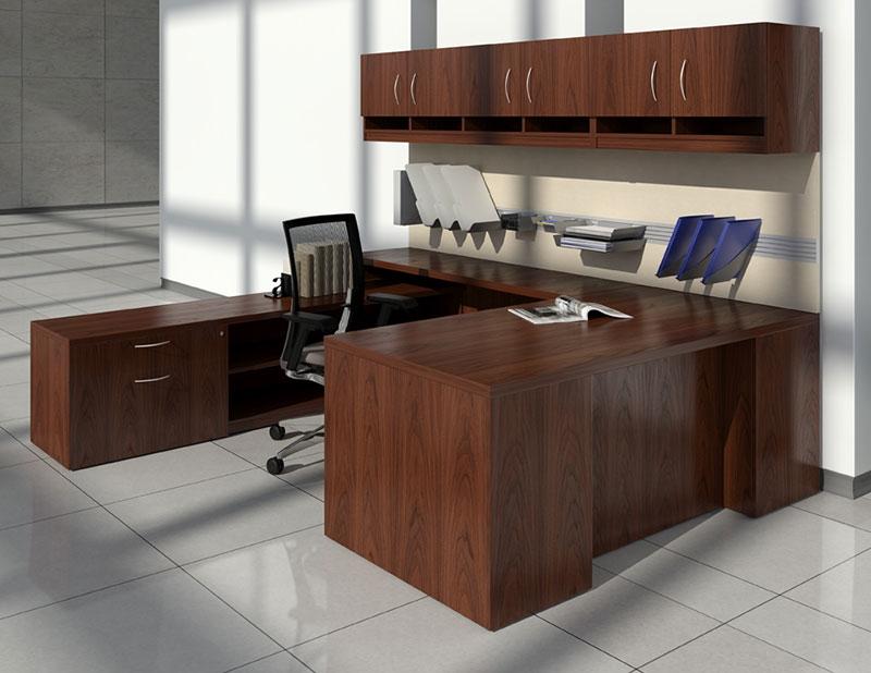 Aspenhome Warm Cherry Executive Modular Home Office: Global Lufton Wood Veneer L Shaped Desk Collection
