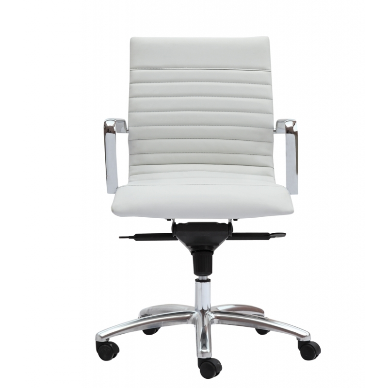 Zetti modern white leather office chair conference room for Modern white office chair