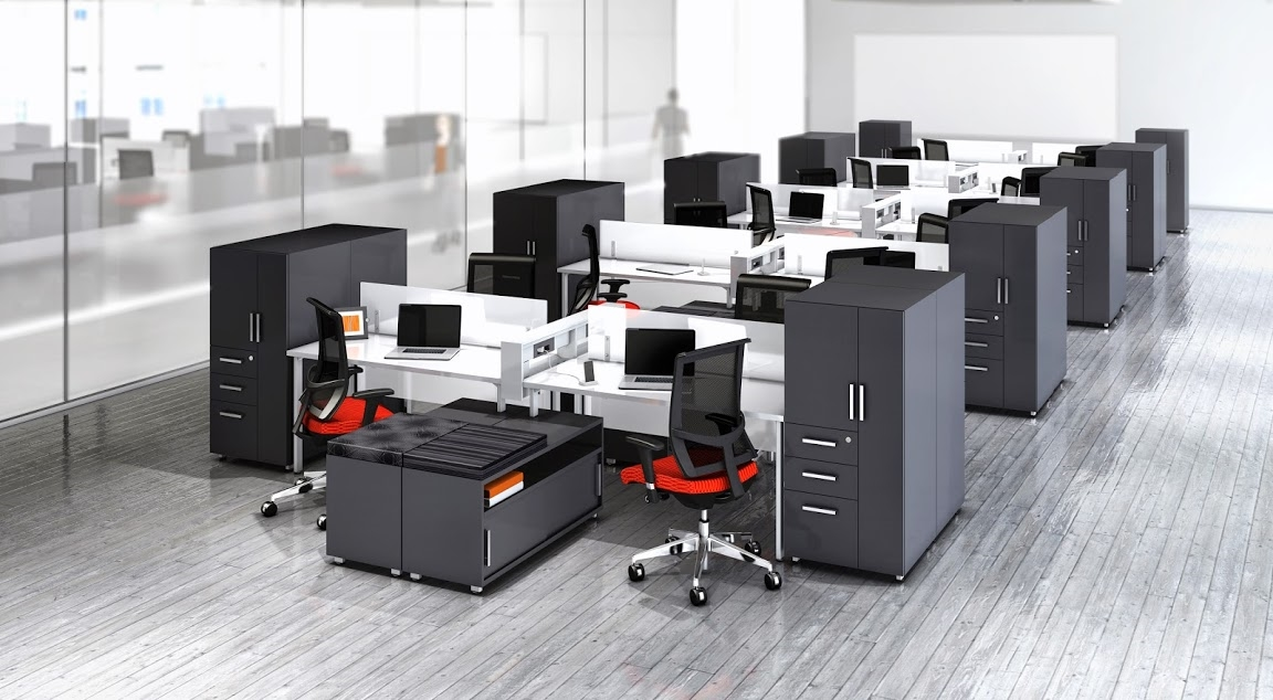 Mayline e5 open plan benching desk system at boca raton for Office design considerations