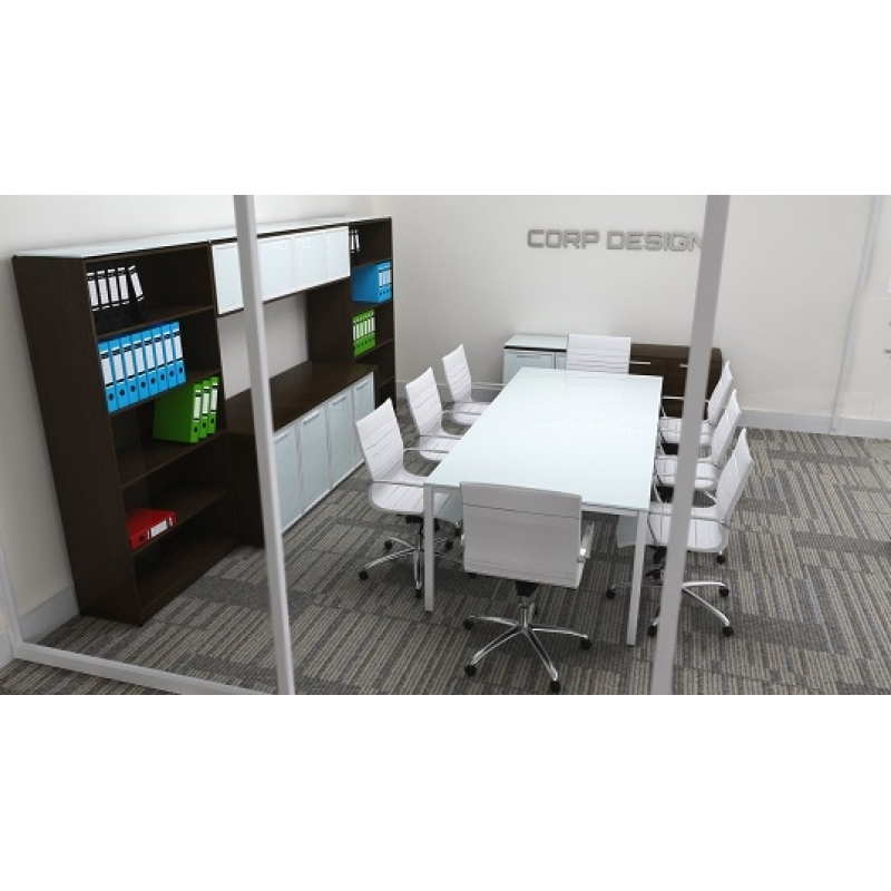 Sling White Glass Conference Table Or Executive Desk - Desk with meeting table