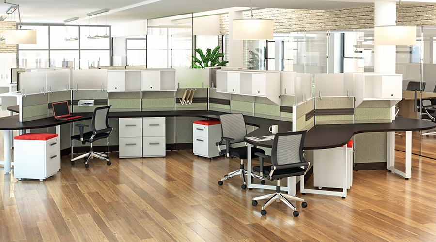 Modern cubicles with segmented tile panels with acoustical for Design agency usa