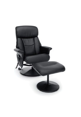 HEATED SHIATSU MASSAGE LEATHER RECLINER AND OTTOMAN
