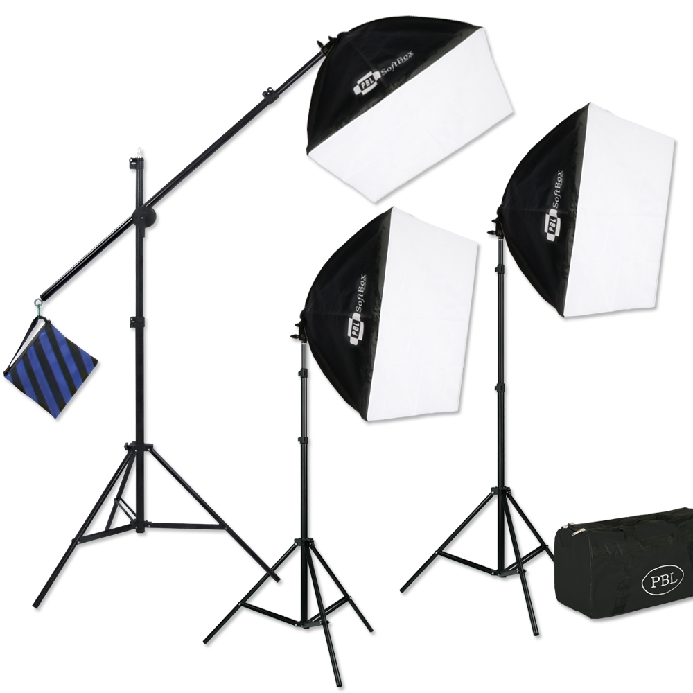 Photography And Video Production Three Point Fluorescent Lighting Kit With Boom