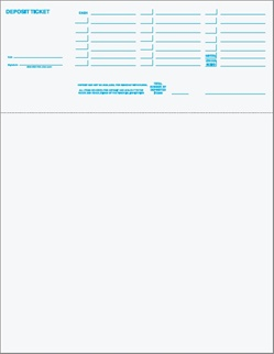 Base Printed Top Position Deposit Slip Stock - Perf at 3.5""