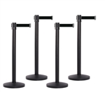 Set of 4 Black Retractable Belt Barriers