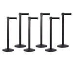 Set of 6 Black Retractable Belt Barriers