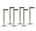 Set of 6 Stainless Retractable Belt Barriers
