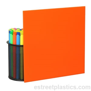 "1//4/"" 2119 Translucent Orange Cell Cast Acrylic Sheet  12/"" x 12"
