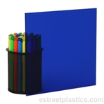 "3/16"" x 24"" x 24"" Transparent Blue Plexiglass Acrylic Sheet - #2424"