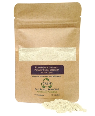 CALM Natural Eco Friendly Skin Care Eco Refill Rose Hips & Oatmeal Powder Facial Cleanser