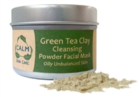 CALM Natural Eco Friendly Skin Care Green Tea Clay Powder Facial Mask