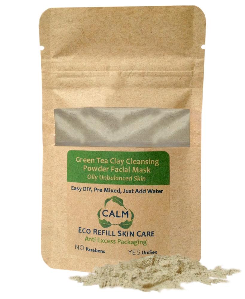 eco refill green tea clay powder facial mask calm natural eco friendly skin care. Black Bedroom Furniture Sets. Home Design Ideas