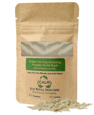 CALM Natural Eco Friendly Skin Care Eco Refill Green Tea Clay Powder Facial Mask