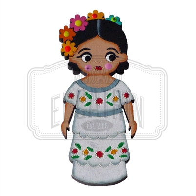 """Yucateca"" Traditional Dress Wooden Magnet"