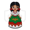 """China Poblana"" Traditional Dress Wooden Magnet"