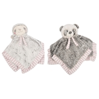 "14"" LIL' BABY FLUFFY SECURITY BLANKET W/RATTLE (2) <b class='icon-new-product'></b>"