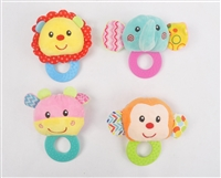 "4"" BABY PLUSH RATTLE W/TEETHER (4) <b class='icon-new-product'></b>"