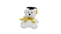"6"" GRADUATION WHITE BEAR WITH BLACK CAP (1)"