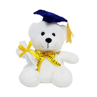 "6"" GRADUATION WHITE BEAR WITH NAVY BLUE CAP (1)"