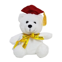 "6"" GRADUATION WHITE BEAR WITH BURGUNDY CAP (1)"