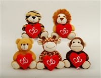"6"" JAYCE WILD ANIMALS SET WITH HEART (5)"