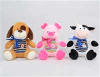 "9"" AUDEN ANIMALS - COW/PIG/DOG ASST (3)"