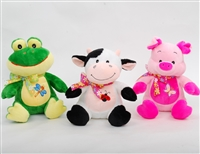"9"" PHILLY FARM ANIMALS-FROG/COW/PIG (3)"